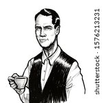 handsome man with a cup of tea. ... | Shutterstock . vector #1576213231