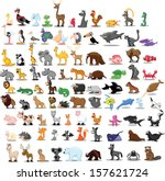 Stock vector super set of cute cartoon animals 157621724