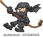 cartoon ninja in black suit... | Shutterstock .eps vector #1576281031