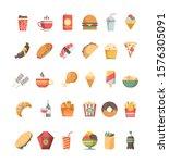 fast food icon. junk food trash ... | Shutterstock .eps vector #1576305091