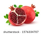 Ripe Pomegranate With Leaves...