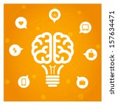 brain light bulb with icons... | Shutterstock .eps vector #157634471