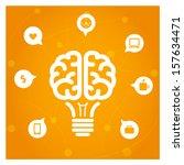 brain light bulb with icons... | Shutterstock .eps vector #157634471