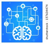 brain connected with icons... | Shutterstock .eps vector #157634474