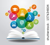 open books and icons of science.... | Shutterstock .eps vector #157634834
