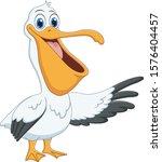 cartoon pelican presenting with ...   Shutterstock .eps vector #1576404457