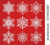 snowflakes collection on a red... | Shutterstock .eps vector #157643387
