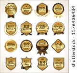collection of golden flat... | Shutterstock . vector #1576436434