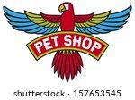 pet shop label  flying parrot  | Shutterstock . vector #157653545