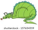 Dragon Sleeping. Cartoon....