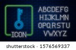 glowing neon pirate key icon... | Shutterstock .eps vector #1576569337