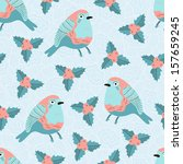 christmas bird seamless pattern | Shutterstock .eps vector #157659245