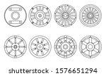 Wooden Wheel Vector Line Set...