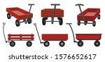 Garden Cart Cartoon Vector...