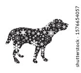 vector silhouette of snowy dog... | Shutterstock .eps vector #1576654057