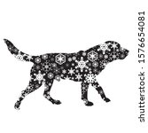 vector silhouette of snowy dog... | Shutterstock .eps vector #1576654081
