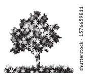 vector silhouette of snowy tree ... | Shutterstock .eps vector #1576659811