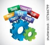 social media gear sign... | Shutterstock . vector #157666799