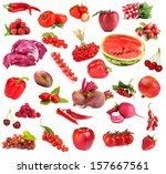 collection of fruits and... | Shutterstock . vector #157667561