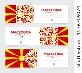 banner flag of macedonia ... | Shutterstock .eps vector #1576706074