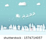 winter landscape with houses... | Shutterstock .eps vector #1576714057