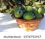 Green Feijoa Fruit In Basket  ...