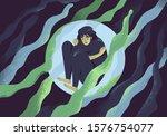 depressed girl in bubble flat... | Shutterstock .eps vector #1576754077
