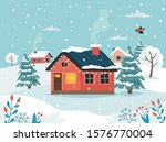 Winter House With Landscape....
