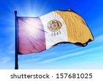 san diego  usa  flag waving on... | Shutterstock . vector #157681025