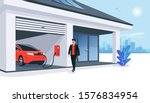 electric car parking charging... | Shutterstock .eps vector #1576834954