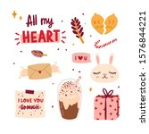 beautiful love stickers for... | Shutterstock .eps vector #1576844221