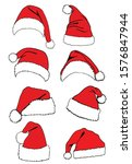 Graphical Set Of Red Santa...