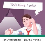 Gambling obsession flat vector illustration. Casino entertainment addiction. Obsessed gambler hoping to win. Poker player, gambling addict expecting victory in card game cartoon character - stock vector