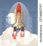 shuttle launch. vector... | Shutterstock .eps vector #1576883797