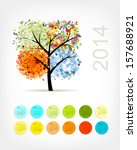 calendar 2014 with four season... | Shutterstock .eps vector #157688921