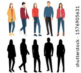 silhouettes of men and women in ... | Shutterstock .eps vector #1576905631