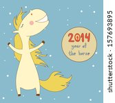 cheerful new year horse with... | Shutterstock .eps vector #157693895