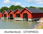 Red Boat Houses. Finland