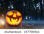 Burning Halloween Pumpkin In...