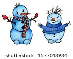 Two Cute And Funny Snowmen.