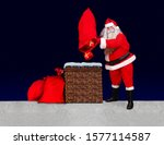 Small photo of Santa Claus standing at a snowy roof and throw gifts from bag into the chimney, background of dark blue with stars. Santa upturn sack with christmas boxes to chimney.