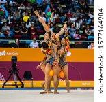 Small photo of BAKU, AZERBAIJAN -16-22 SEPTEMBER, 2019: 37th FIG Rhythmic Gymnastics World Championships, Group Qualification, Team Bulgaria. 5 balls.