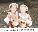 Two Little Girls Dressed For A...