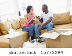 couple toasting champagne by... | Shutterstock . vector #15772294