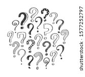 set of hand drawn question... | Shutterstock .eps vector #1577252797
