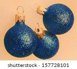 beautiful  blue christmas balls | Shutterstock . vector #157728101