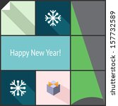 new year decorative icon set...