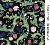 seamless vector dark vintage... | Shutterstock .eps vector #157734599