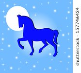 silhouette of horse on a blue... | Shutterstock . vector #157746434