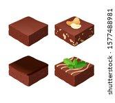 chocolate fudge. homemade... | Shutterstock .eps vector #1577488981